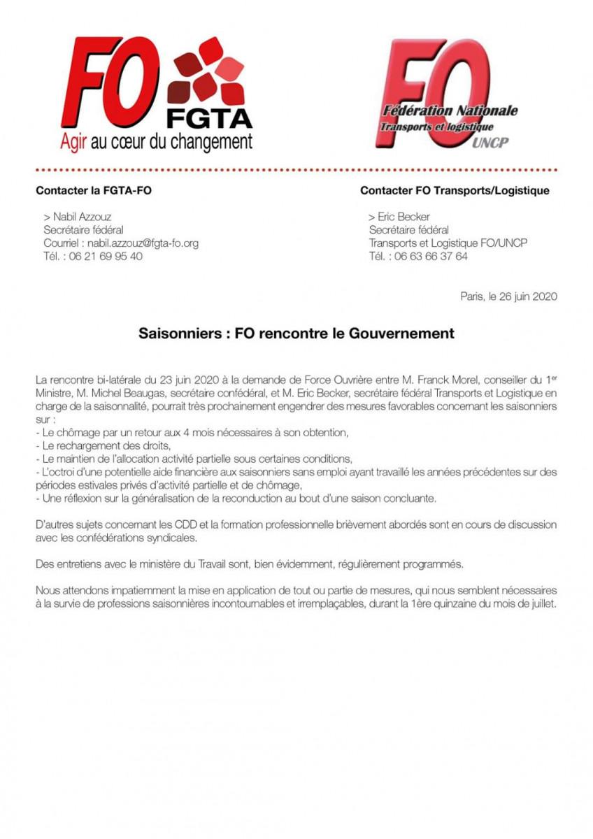 Communiqué de presse FGTA-FO